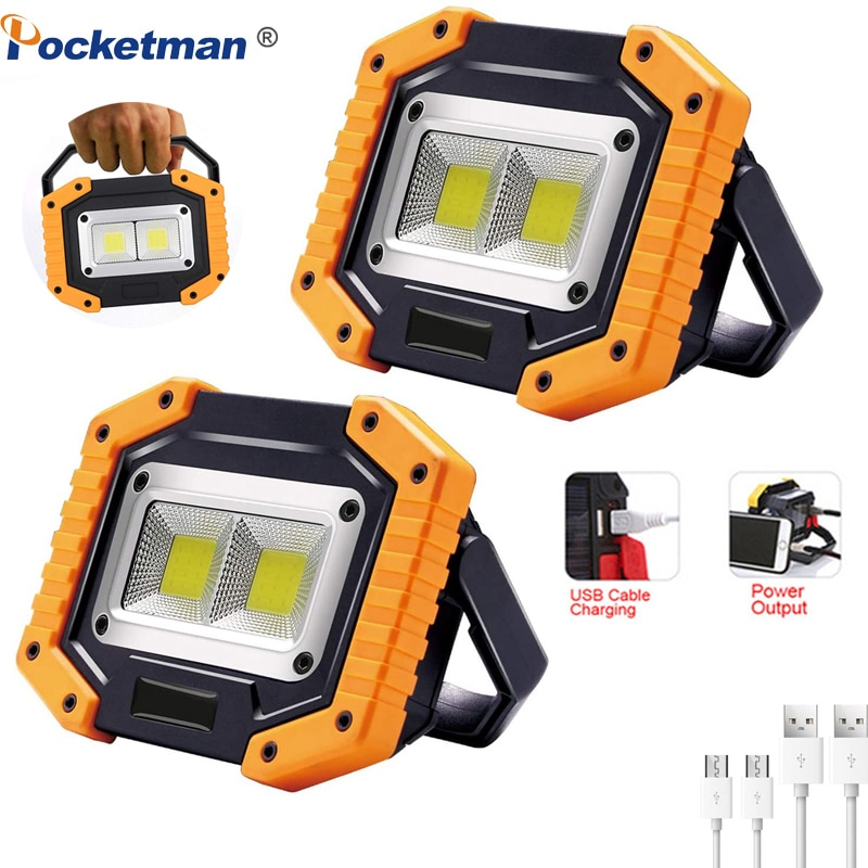 20w cob led spotlights powerful usb 18650 led work light rechargeable lampe led flashlight waterproof for outdoor camping lights 100W Led Portable Spotlight COB 7000lm Super Bright Led Work Light Flood Lights Rechargeable for Outdoor Lampe 18650 Emergency