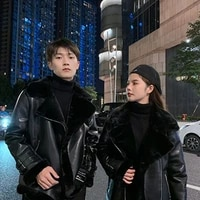 2021 winter new korean style young and middle aged lapel long sleeved cardigan thickened warm motorcycle clothing