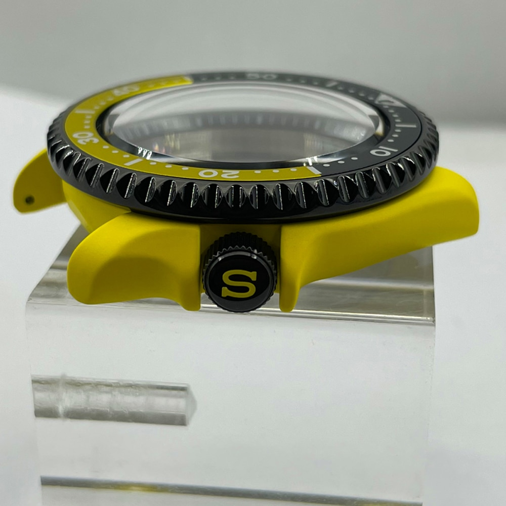 Watch Parts 42.3mm Red/Yellow Ceramic Coating SKX007 Modify Watch Case Aluminum Rotating Bezel Sapphire Fit NH35/36 Movement enlarge