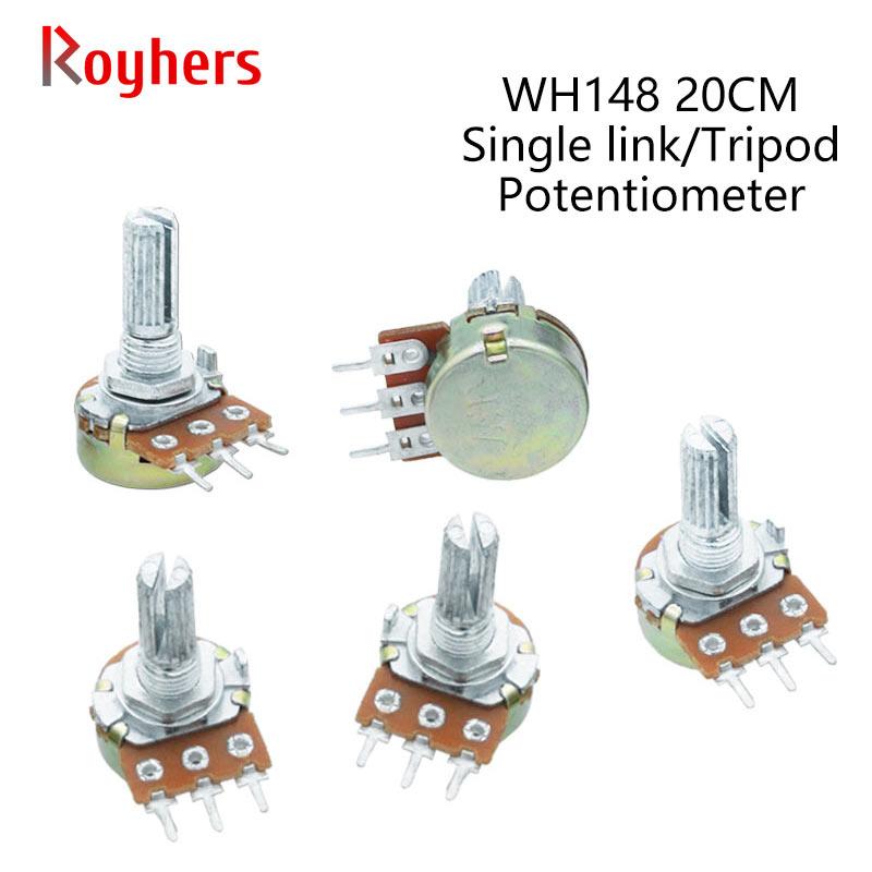 2Pcs WH148 20 10 5 2 1K K K K K K 100K 250K 500K 1 50 M 3Pin 20mm Amplificador Dupla Stereo Potenciômetros Do Eixo B1K B5K B10K B20K B50K B1M
