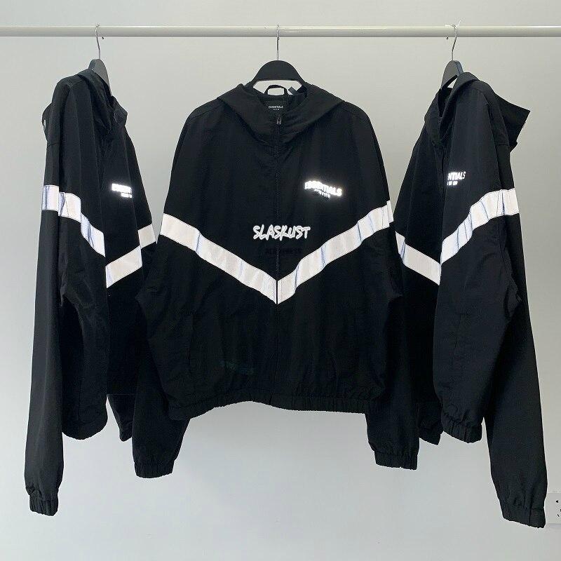 Melhor Qualidade Justin Bieber Oversize Listra Reflexiva Jaqueta Bomber Blusão Forrado com Malha Full-Zip