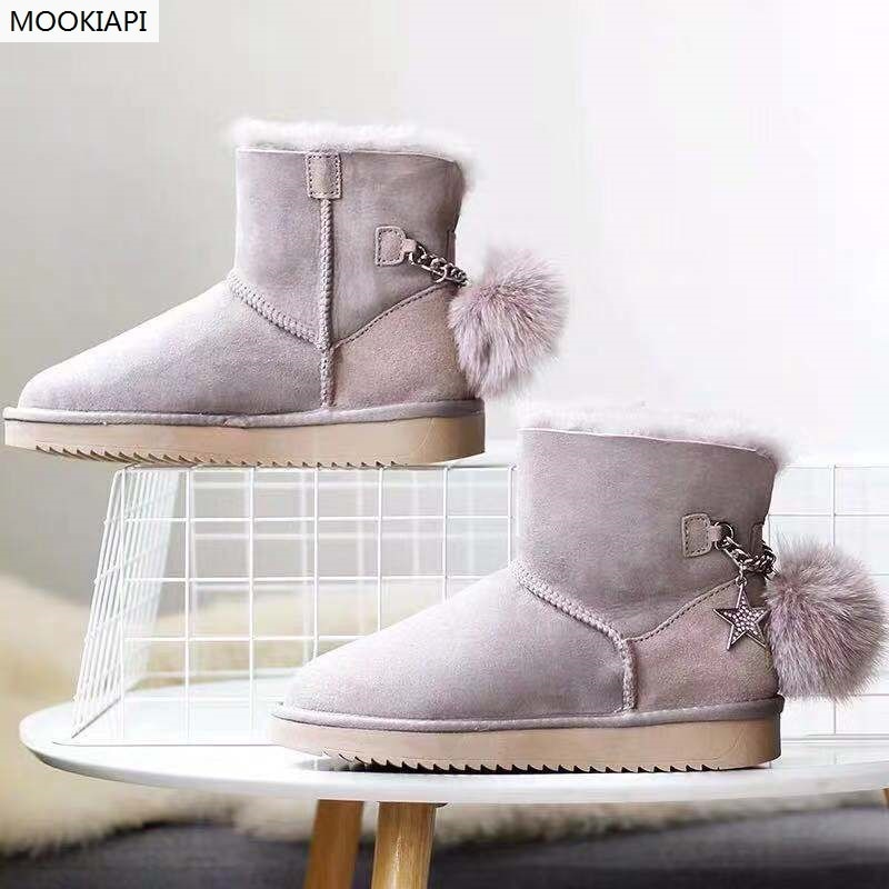 Sapatos das mulheres da qualidade superior da austrália em 2019, pele de carneiro real, 100% lã natural, livre de entrega, raquetes de neve com bola de lã