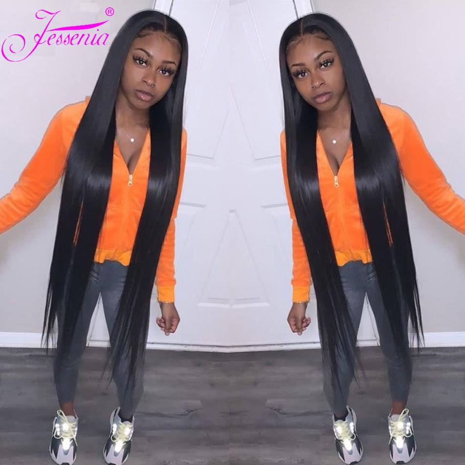 30 34inch Bone Straight Lace Closure Brazilian Wigs On Sale Pre Plucked Glueless 150Density 100% Virgin Cheap Human Hair frontal