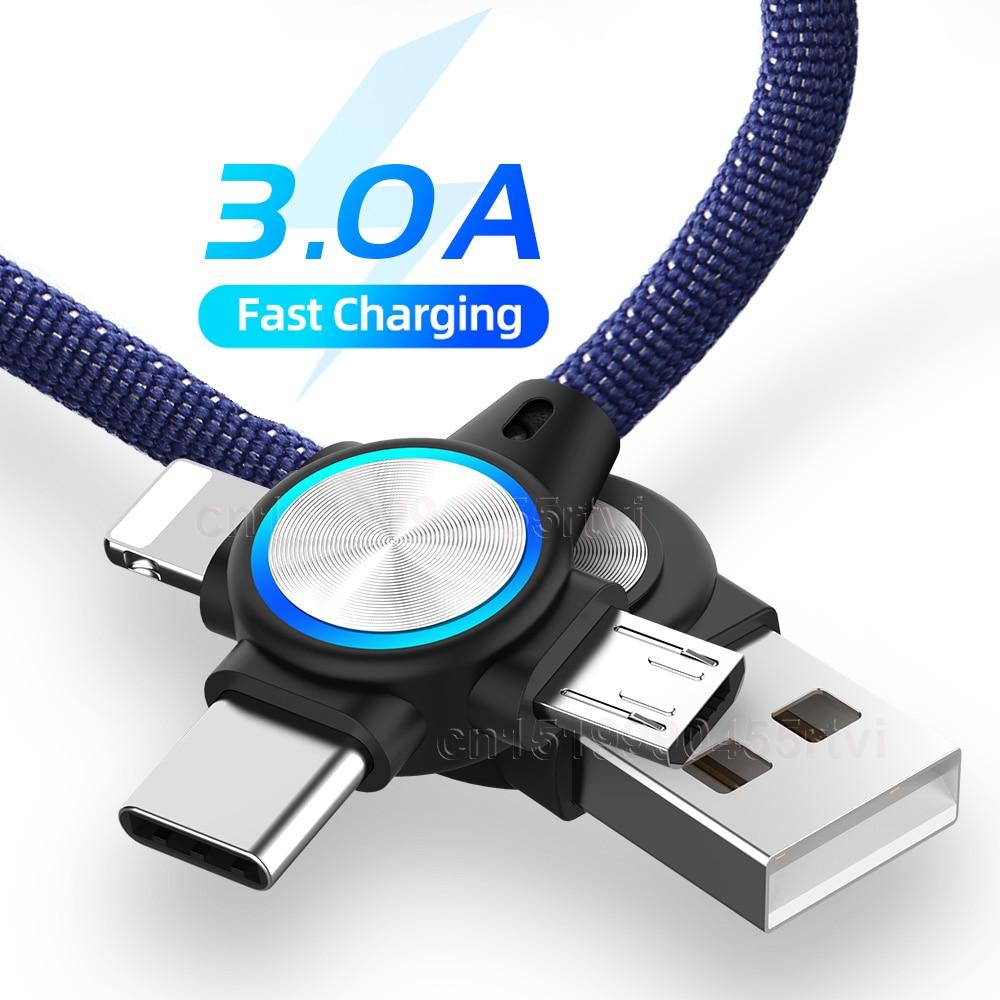Cable USB 3 en 1 para telfono móvil de carga Micro tipo...