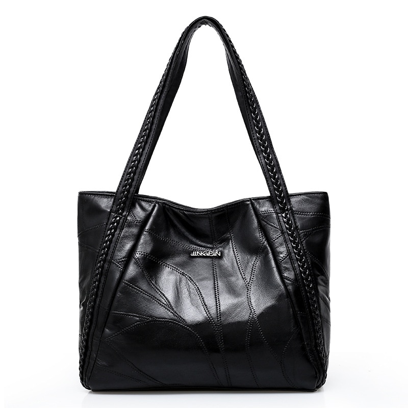 2020 cor preta bolsa de couro de ovelha real macio para as mulheres do vintage sacos de couro genuíno grande capacidade senhoras crossbody tote