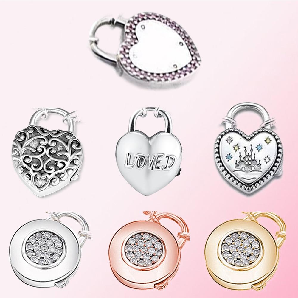 2019 100% 925 Sterling Silver Signature Loved HEART PADLOCK CLASP Fantasyland Castle Chain Valentine's Day DIY Bracelet Bangle