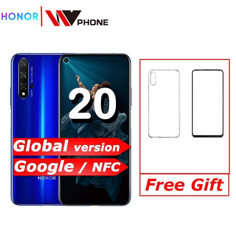 "Versión global Honor 20 6GB RAM 128GB ROM NFC 48MP Quad cámaras Kirin 980 Octa Core 32MP cámara frontal 6,26 ""teléfono inteligente 3750mAh"