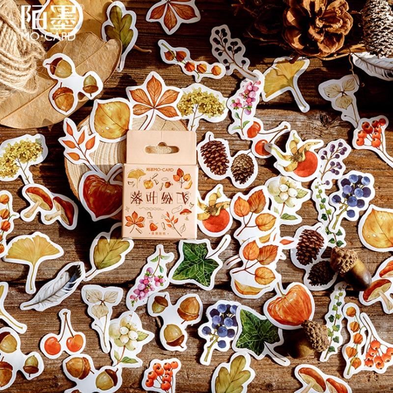 56 caixas de outono por do sol folhas voando criativo fresco mao caixa conta adesivo