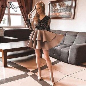 Mini Homecoming Dresses Short 2021 Lace Appliques Tiered Skirt Long Sleeve Prom Dress Graduation Gowns Vestido De Fiesta