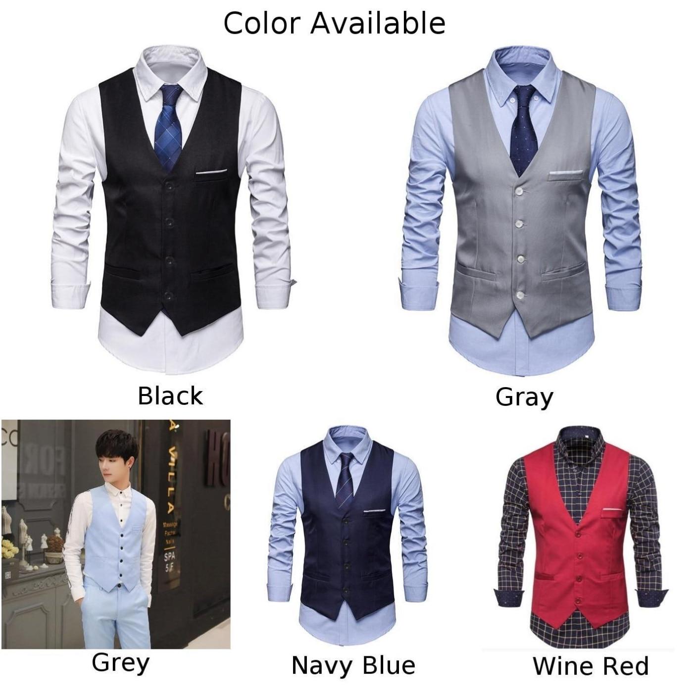 Men's Black Colour Wedding Suit Vests For Men Slim Fit Dress Vest Male Formal Tuxedo Waistcoat Business Casual Sleeveless Jacket