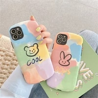 phone case for iphone 11 ins rainbow bunny bear shell for iphone 78se cute matte mobile phone case for apple 12 xs xr 11promax