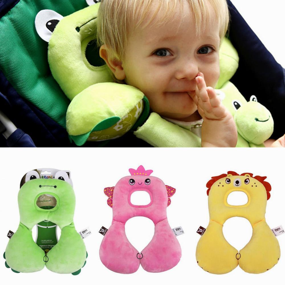 Bonita almohada de reposacabezas de asiento de coche de bebé de dibujos animados suave para niños de 6 a 24 meses, almohada de cuello, Protector en forma de U, cojín de soporte para la cabeza portátil