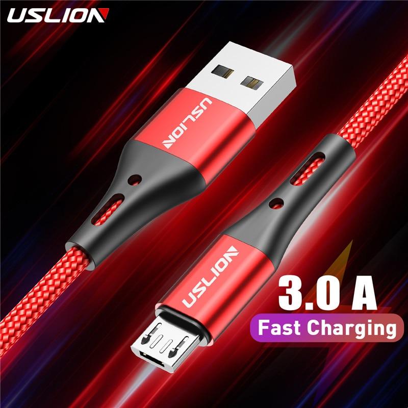 USLION-Cable Microusb 3A de carga rápida para teléfono móvil, Cable de datos...