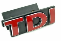1x red tdi car front grill grille badge car stickers for golf jetta polo mk scirocco emblem car styling