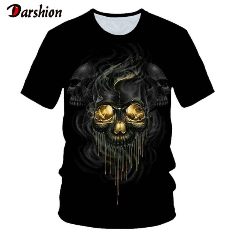 Camiseta estampa de caveira exclusiva, camiseta preta masculina 3d de hip hop com estampa de caveira camisa hipster pop,