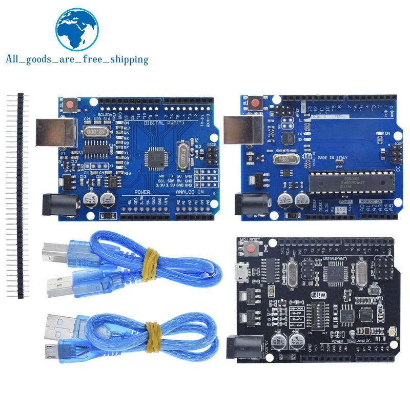 UNO R3 Official Box ATMEGA16U2 / UNO+WiFi R3 Original ATMEGA328P Chip CH340G For Arduino UNO R3 Development Board WeMos ESP8266
