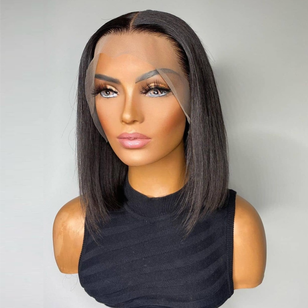 Bob Bone Straight Lace Frontal Human Hair Wigs 13x4 10 inches Pre-Plucked Natural Hairline 4x4 Short Bob Lace Closure Wig