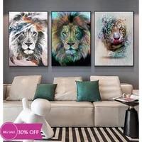 Toile de decoration de noel  affiches danimaux  couleur Lion  tableau dart mural pour decoration de salon  decoration de maison