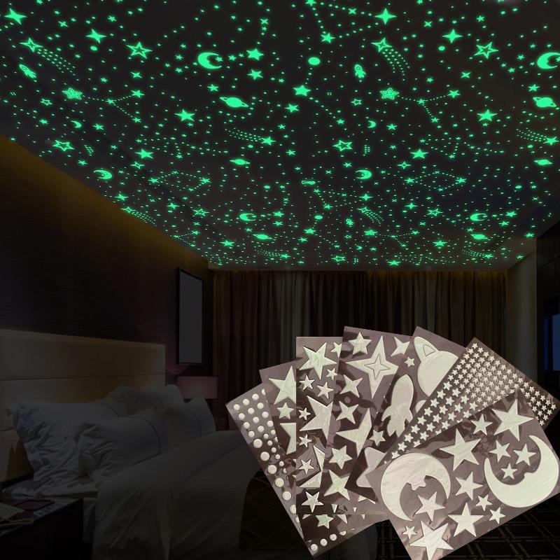مضيئة القمر والنجوم ملصقات جدار للأطفال غرفة الطفل الحضانة ديكور المنزل صور مطبوعة للحوائط توهج في الظلام سقف غرفة نوم