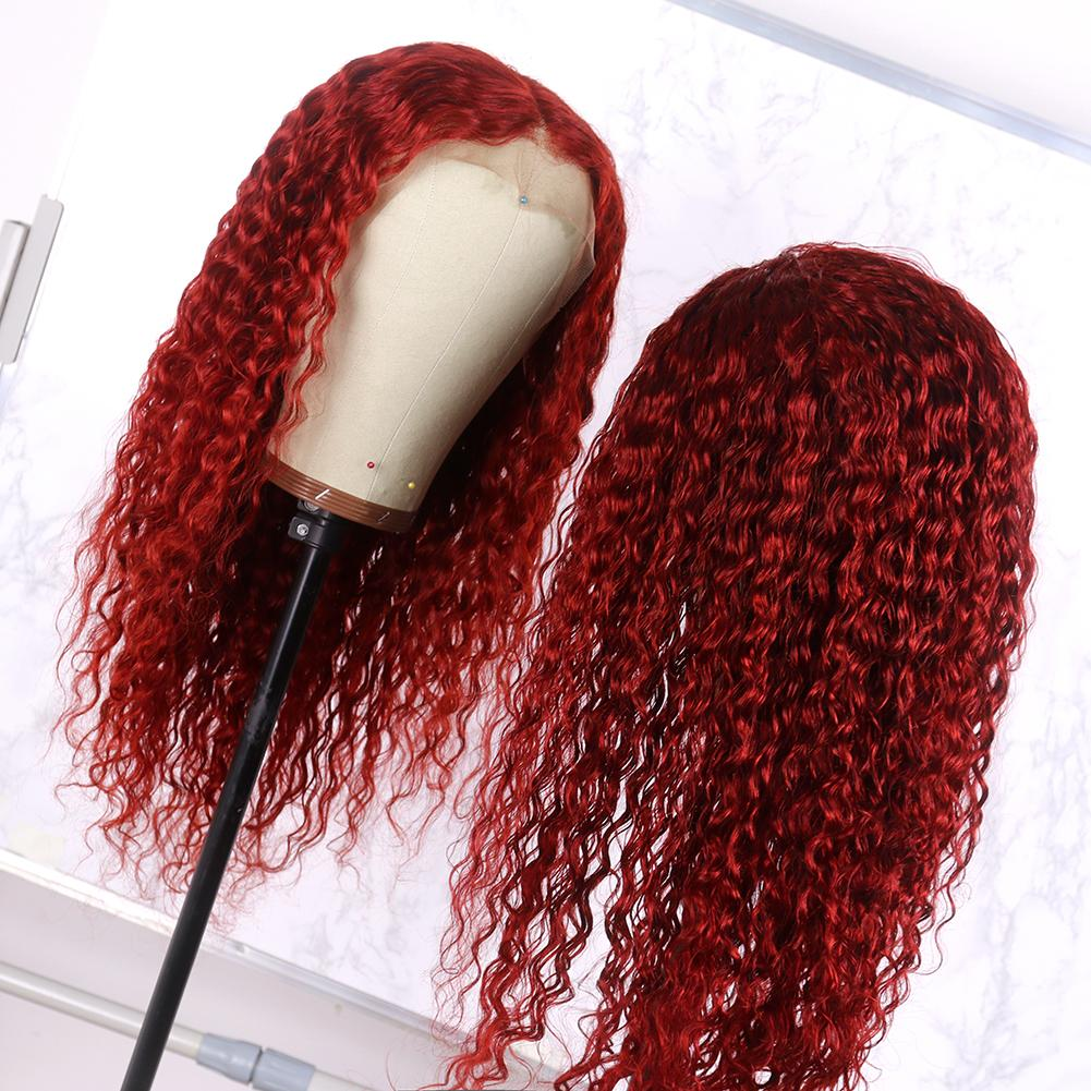 Wine Red Hair Wig Queen Lace Front Wig Brazilian Deep Curly Hair Remy Human Hair Front Lace Wigs for Women 180 Density