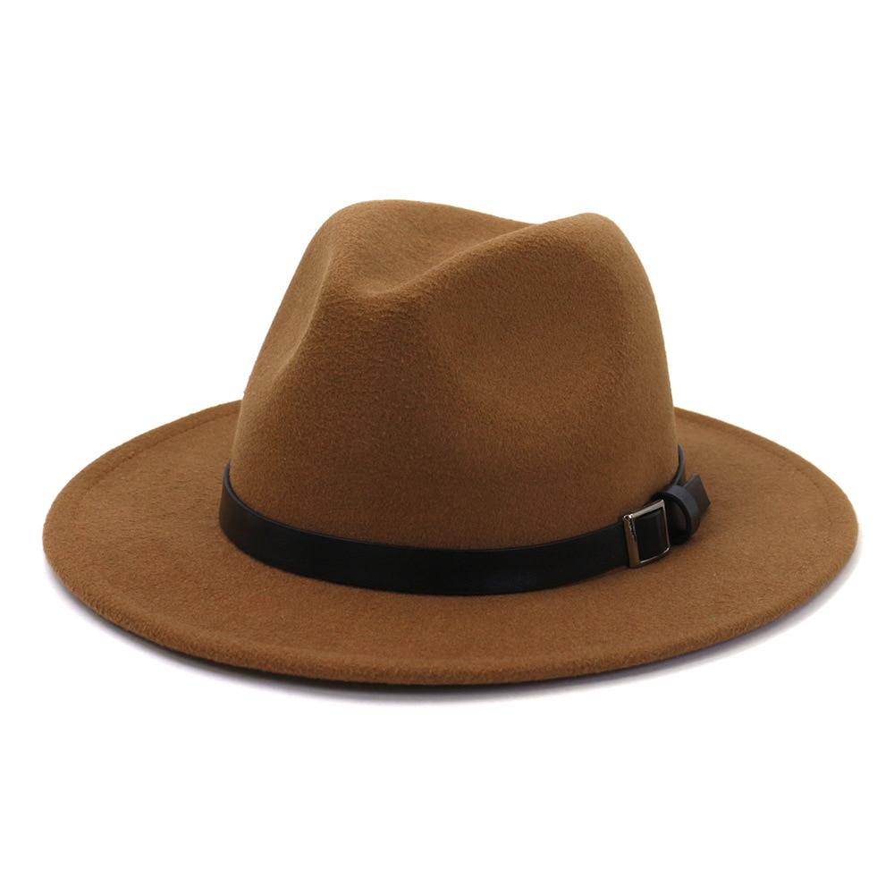 2020 New Fashion Autumn Winter Wool Felt Fedora Hat for Men with Black Belt Imitation Wool Classic W