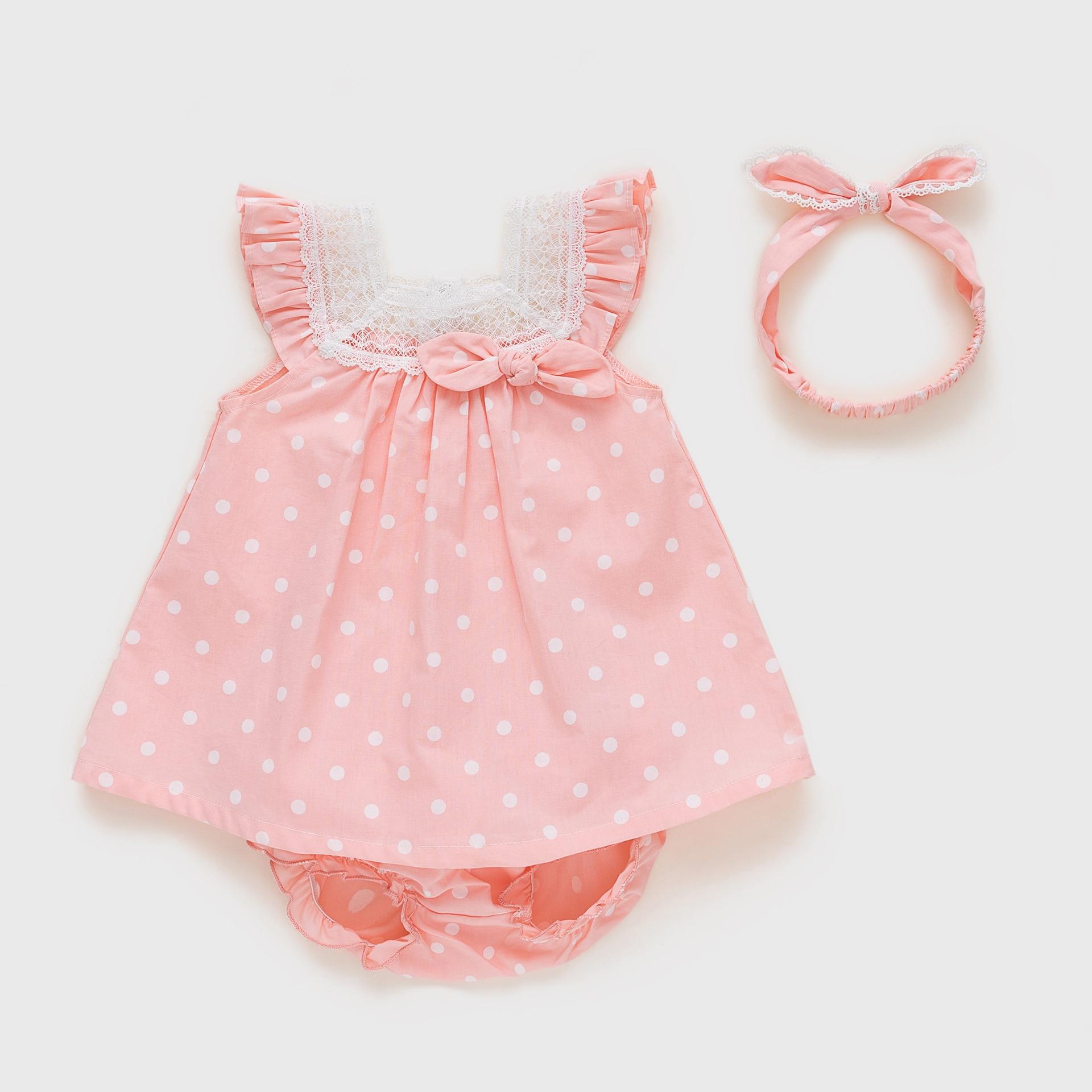 Vlinder Baby Girl dress baby clothes Baby Birthday dresses Cute Bow Tie Dress set  Newborn Short Sleeves Infant Dresses 3pcs set