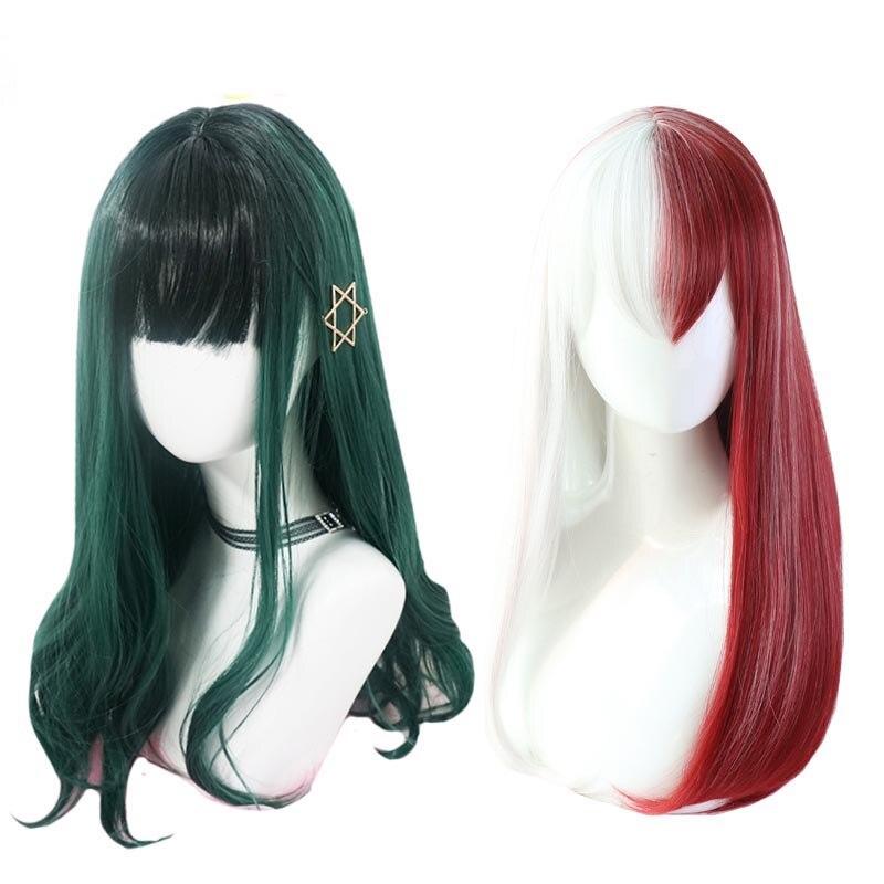 Boku não meu herói academia shoto todoroki izuku midoriya perucas cosplay feminino longo lolita peruca + peruca boné