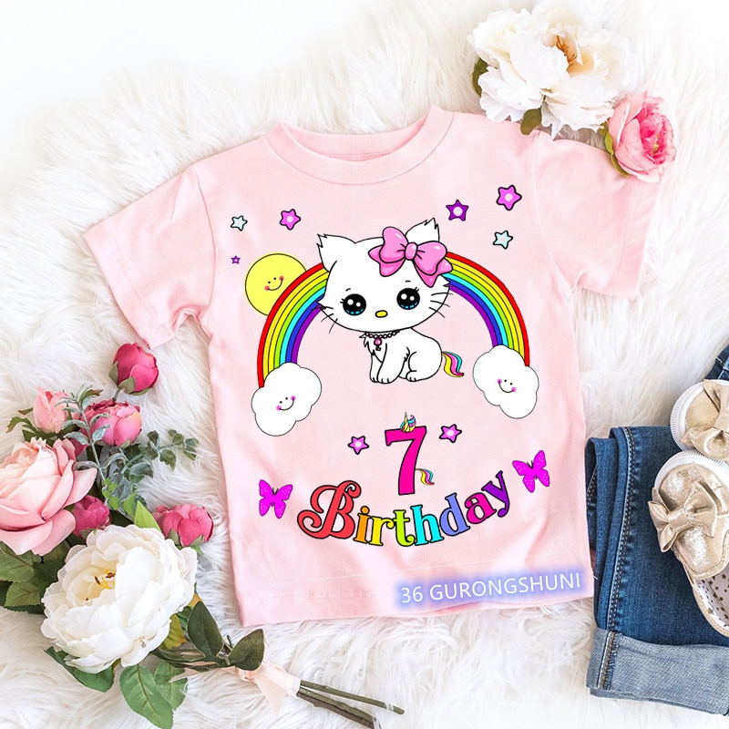 Birthday Gift Unicorn Lovely Cat Cartoon Print T Shirts Tops For Girls Children Kid Clothes Cute Vogue T-Shirt Number Toddler