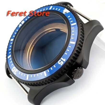 44MM BLIGER 316L acero negro reloj caso azul cerámica bisel ajuste ETA 2836 MIYOTA 8215 821A DG2813 movimiento automático p17