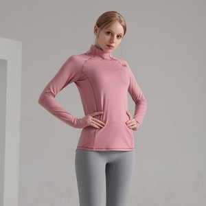 Fitness Clothes Women 's Sports Stand Collar Pullovers Training Slim -fit Sweater Yoga Clothes Breathable Elastic Close Fit Tops