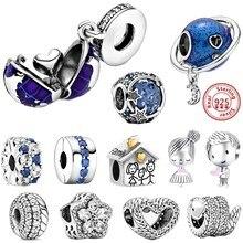 100% 925 argent perles bleu planète étoiles lune balancent garçon fille famille pendentif Fit Original Pandora Bracelets à breloques femmes bijoux