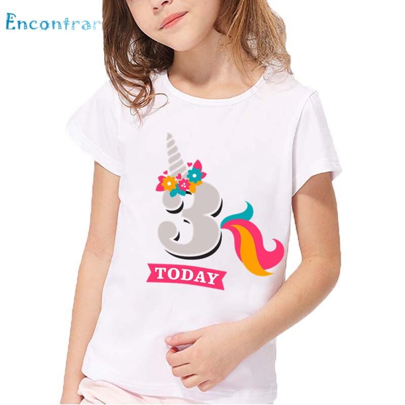 Meninas unicórnio número 1-9 impressão t camisa bebê engraçado verão branco topos crianças feliz aniversário presente camiseta, ohkp2431