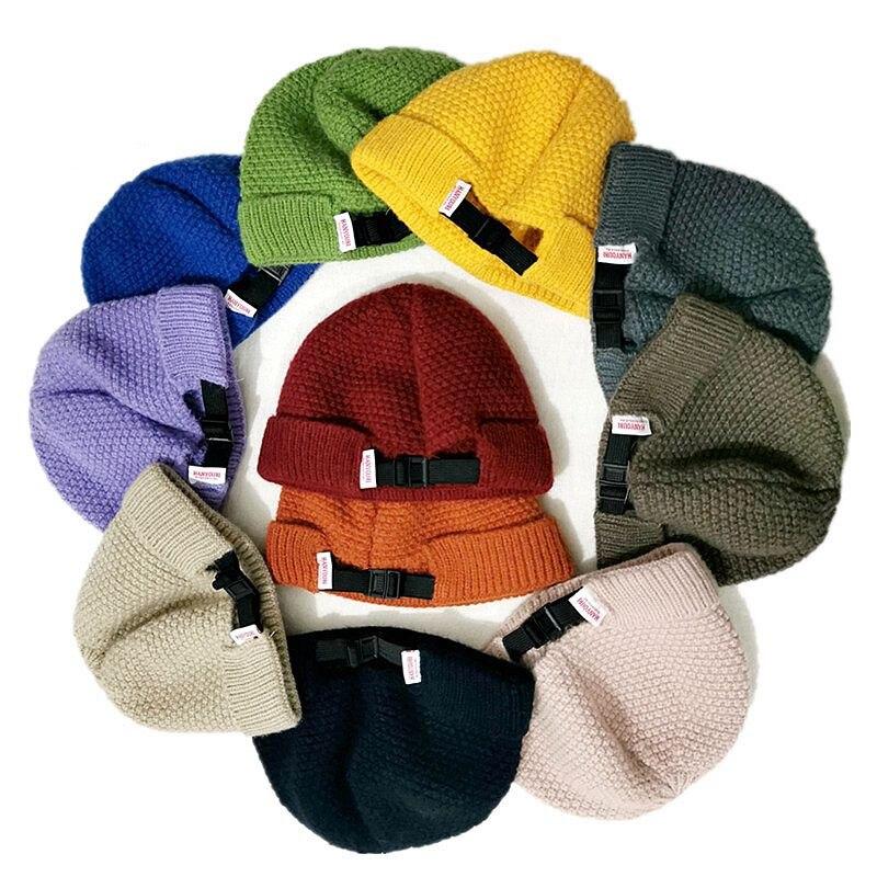Gran oferta de boina de lana corta de uso diario para mujer, gorro de melón para otoño e invierno, gorros de punto acanalados para mujer con banda elástica