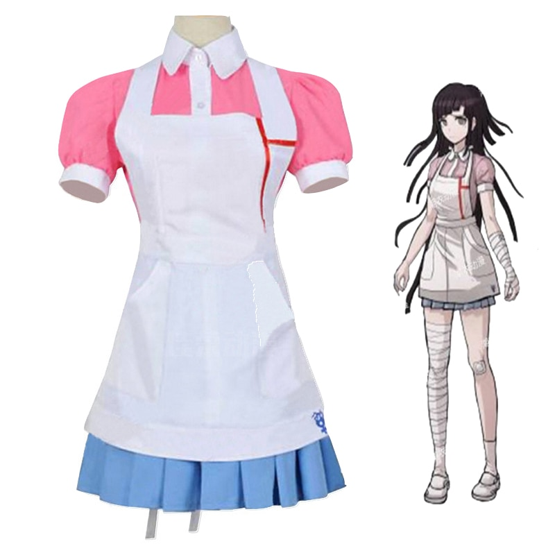Anime dangan ronpa 2 cosplay traje danganronpa mikan tsumiki cosplay vestido peruca terno feminino dia das bruxas meninas lolita uniforme