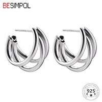 besimpol genuine 925 sterling silver earrings advanced three layer semicircle stud earring for women luxury fashion fine jewelry