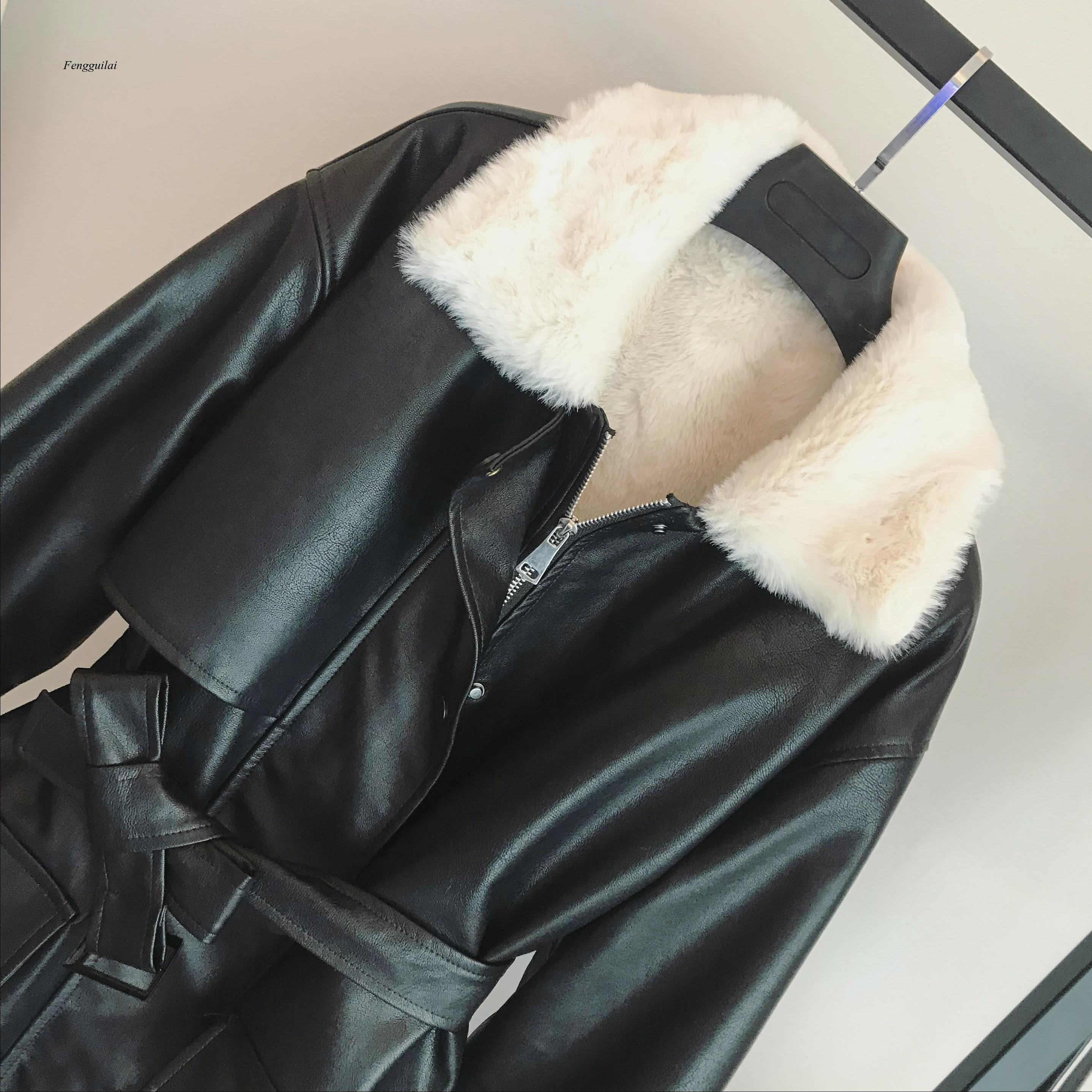 Winter Oversized Leather Jacket Women with Faux Fur Inside Warm Soft Thickened Fur Lined Coat Long Sleeve enlarge