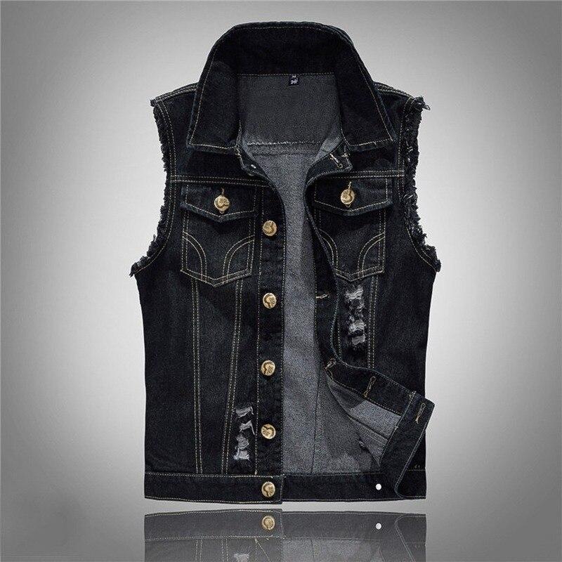 Мужские джинсовые жилеты, мужские черные джинсовые куртки без рукавов, Мужской винтажный Повседневный жилет в стиле ретро, мужской жилет