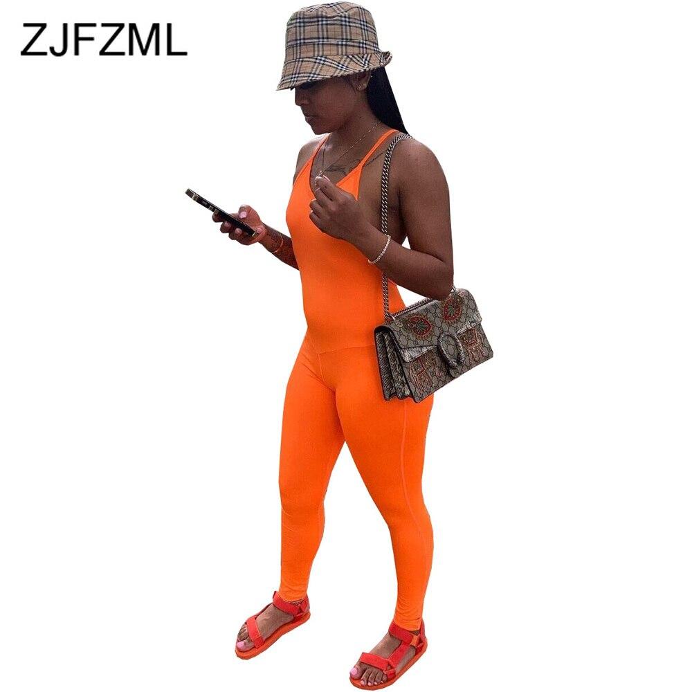 Spaghetti Strap Summer Bodycon Jumpsuit Women Deep V Neck Sleeveless Club Party Bodysuit Streetwear Neon Orange Backless Romper