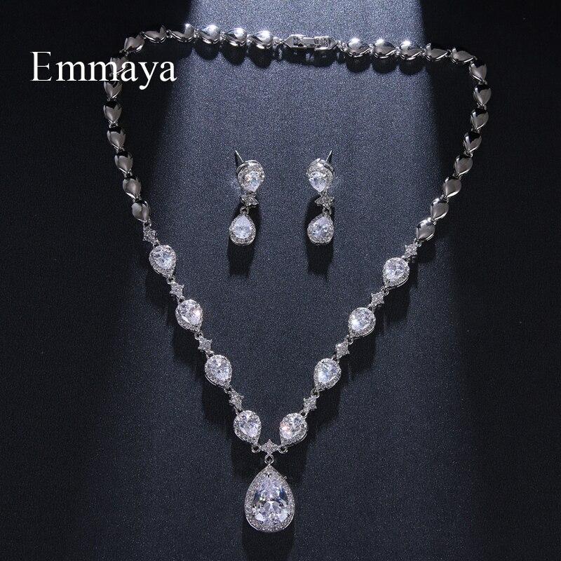 Emمايا الكلاسيكية Waterdrop مظهر الفضة مطلي تشيكوسلوفاكيا رائع مجموعات مجوهرات للإناث القرط وقلادة الاتجاه الجديد الطرف