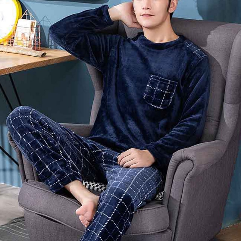 2020 Winter Long Sleeve Thick Warm Flannel Pajama Sets for Men Coral Velvet Sleepwear Suit Pyjamas L