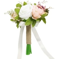 wedding bridal bouquet artificial peony and rose silk flower wedding bouquets for bride bridesmaid toss bouquet