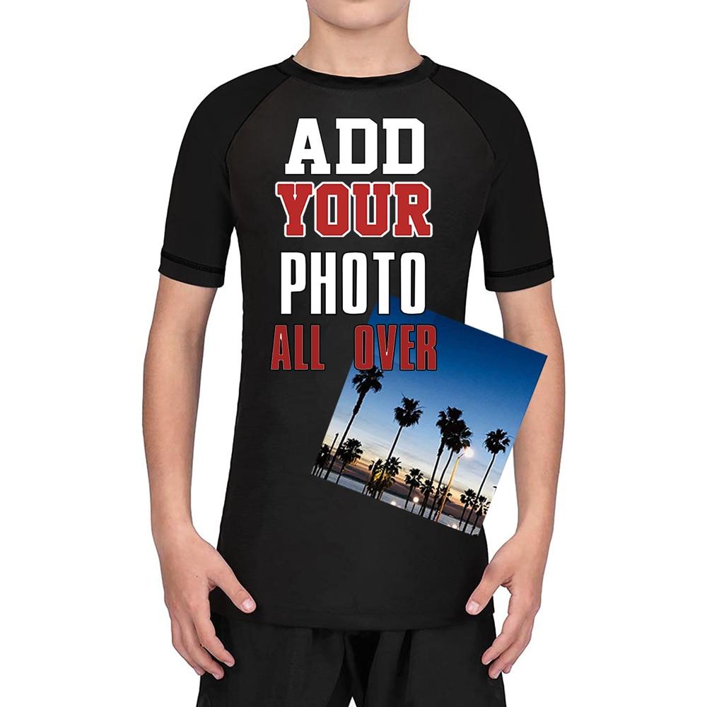Custom Team Kids Rash Guard Boy's Training Base Layer Compression Tops Short Sleeves Sport Shirt