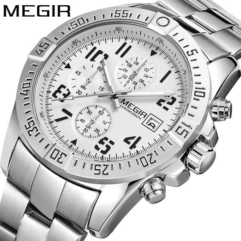 MEGIR 2020 nouvelle montre pour hommes daffaires bracelet en acier montre multifonction arabe numérique sport montres Relogio Masculino Reloj Hombr