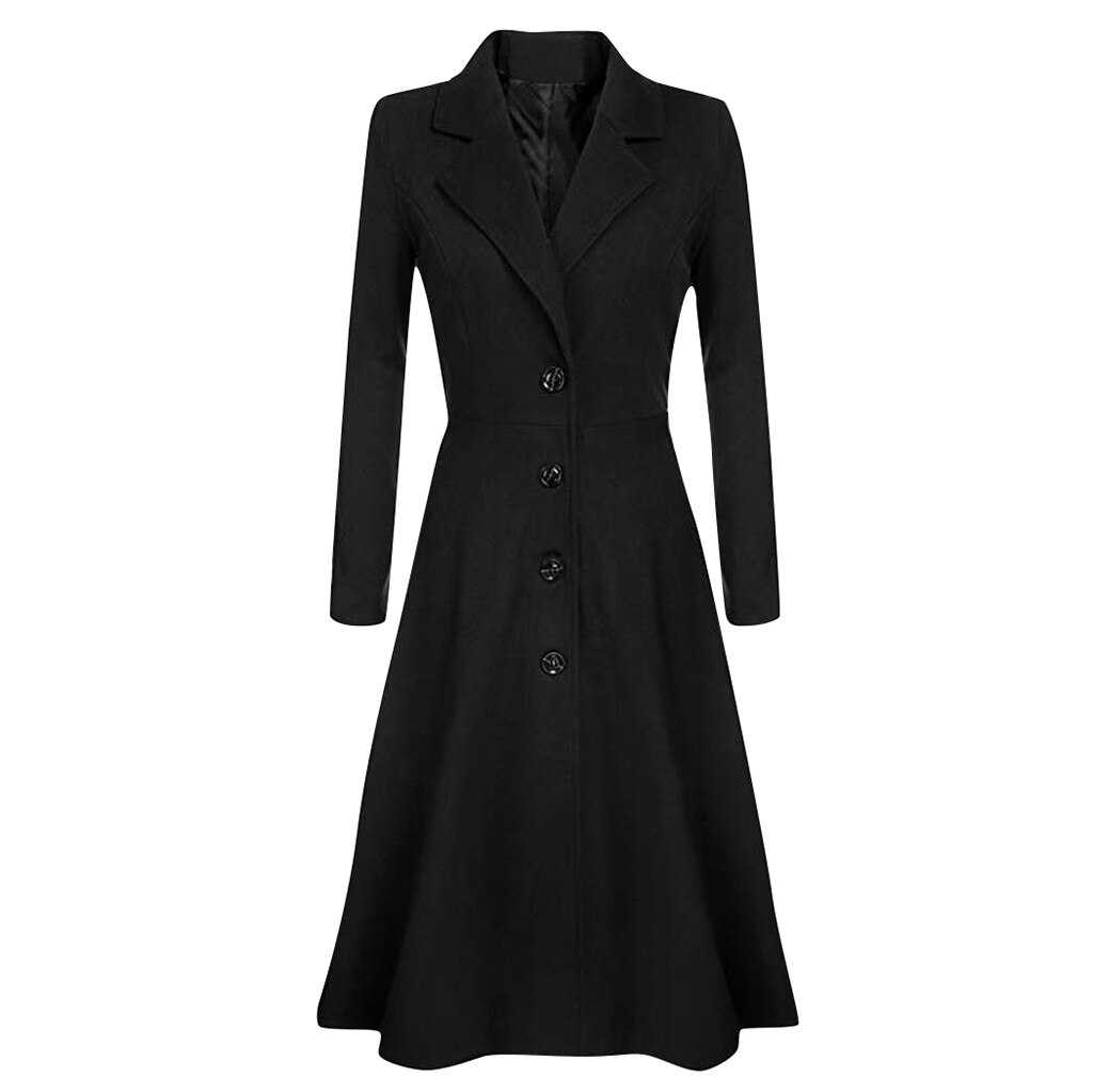 Las mujeres chaqueta invierno solapa botón prendas de vestir hembra Abrigo de...