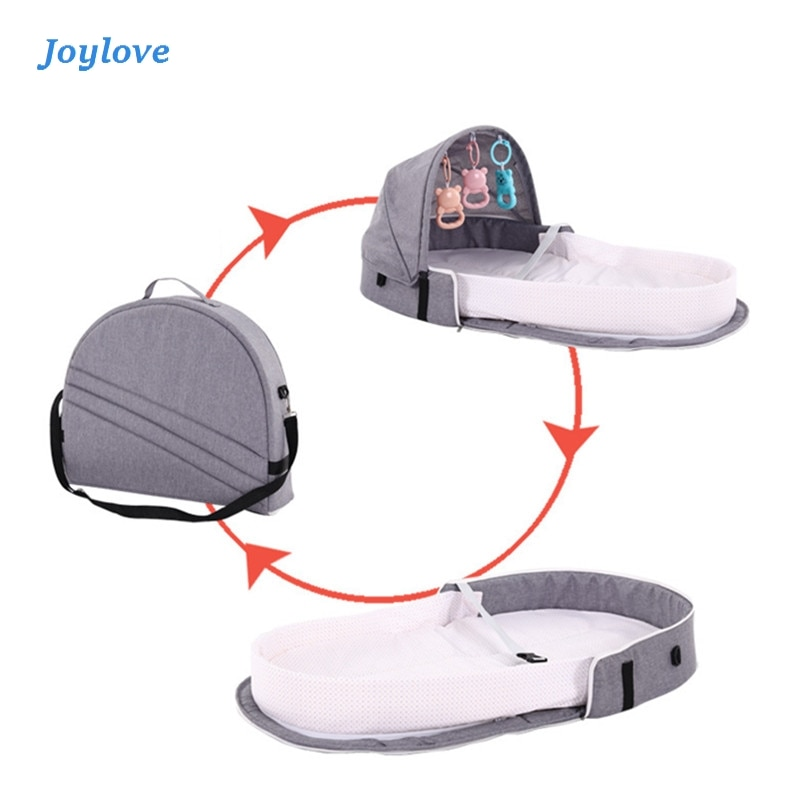 JOYLOVE Baby Travel Portable Mobile Crib Nest Cot Newborn Multi-function Folding Bed Child Foldable Chair With Toys