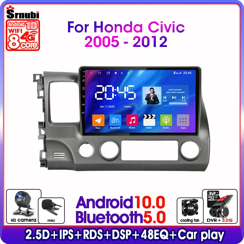 Android 10 2din Car Radio Multimedia Video Player For Honda Civic 2005-2012 Autoradio Navigation GPS 4G RDS DSP IPS Split Screen недорого