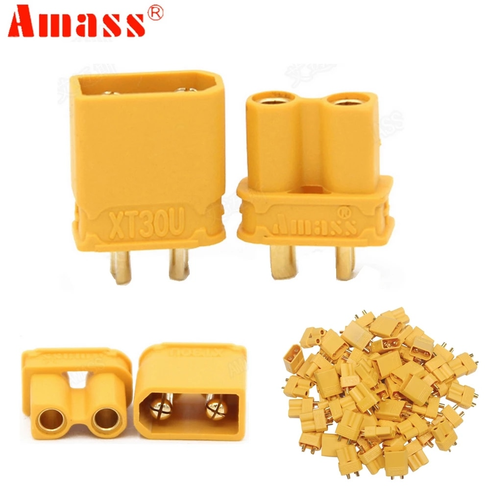 10pcs Amass XT30U 2mm Antiskid Plug Male Female Bullet Connector Plug the Upgrade XT30 For RC FPV Lipo Battery (5 Pair)