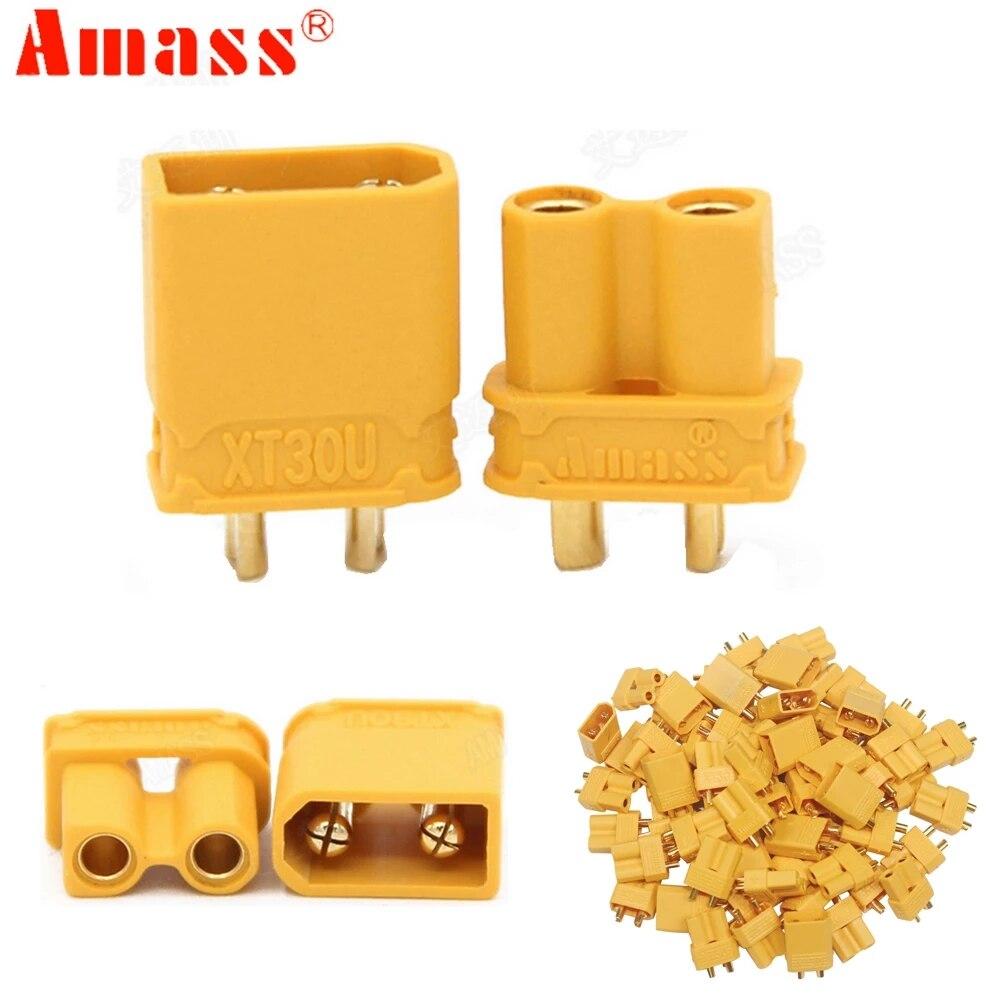 10 pces amass xt30u 2mm antiderrapante plug macho fêmea bala conector plug a atualização xt30 para rc fpv lipo bateria (5 par)