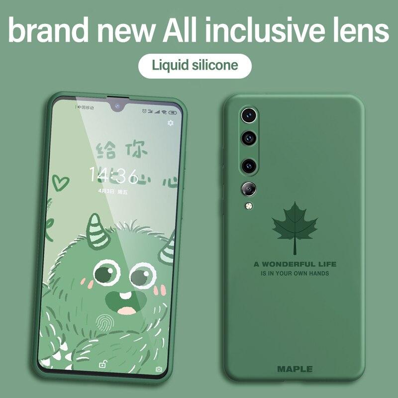Funda pintada bonita de lujo Ultra fina hoja de arce suave funda de silicona Teléfono para Xiaomi Mi 10 9 8 Lite T Pro Redmi Note 8 7 Pro