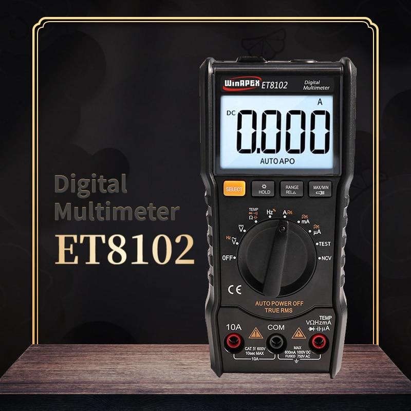 WinAPEX ET8102 Digital Multimeter True RMS 6000 Zählt Taschenlampe Digital Voltmeter 1000V 10A AC/DC Amperemeter Tasche Multimeter